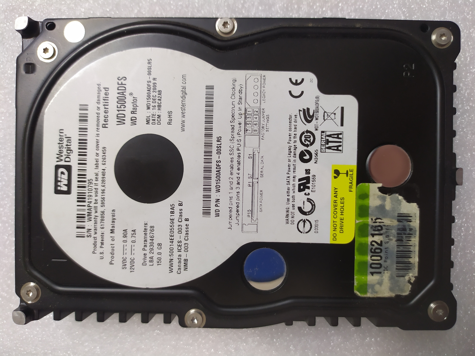 "WD1500ADFS WESTERN DIGITAL150 Gb SATA Western Digital 3.5"" 10000"