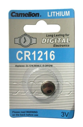 CR1216 BATTERY LITHIUM 3 VOLT BUTTON CR1216, DL1216, 5034LC, ECR