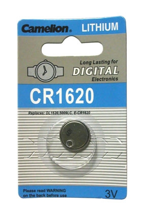 CR1620 BATTERY LITHIUM 3 VOLT BUTTON TYP IEC CR1620, DL1620, 500
