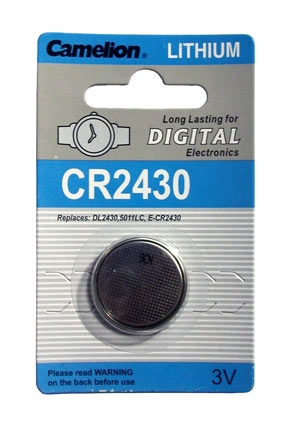 CR2430 BATTERY LITHIUM 3 VOLT BUTTON TYP IEC CR2430, 5011LC