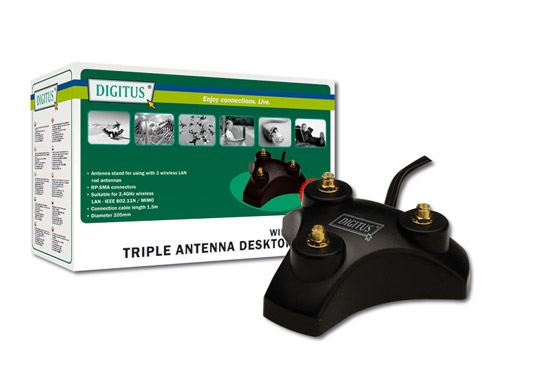 EXTENSION CORD WITH TRIPLE BASE ANTENNA FOR WIRELESS - BLACK
