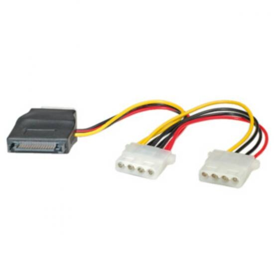 LP1114 CABLE ADAPTER SATA MALE - 2X MOLEX 4 POLES FEMALE 12 CM