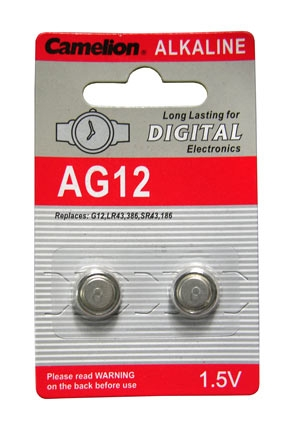 1.5VA LR43 ALKALINE BATTERY BUTTON, 386, SR43, 186, AG12 BLISTER