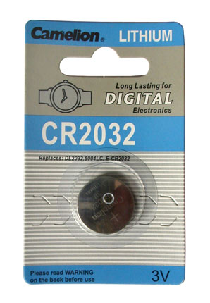 CR2032 BATTERY LITHIUM 3 VOLT BUTTON TYP IEC CR2032, DL2032, 500