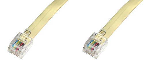TELEPHONE LINE EXTENSION CABLE WITH 2 CONNECTORS 6-POLE MT. 20